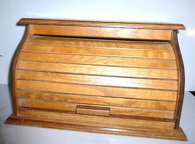 *20217 Vintage BREADBOX Wood Bread Box Wood Storage Box Container Roll Top