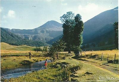 Man and Boy Fishing in Cheylade Valley Puy Mary France Albert Monier Postcard