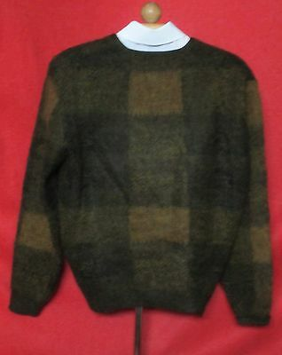 Vtg 50s Shadow Plaid Fuzzy Wool Mohair Blend Cardigan Sweater sz M  Perfect Cond