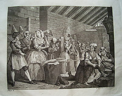 William Hogarth Werdegang der Dirne 4 Sex  Prostituierte alter Kupferstich 1800