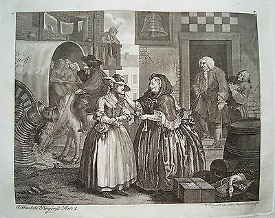 William Hogarth Werdegang der Dirne 1 Sex  Prostituierte alter Kupferstich 1800