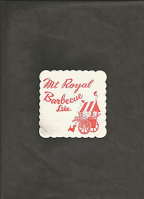 Canadian Vintage MT ROYAL BARBECUE Montreal Paper BAR COASTER 1977
