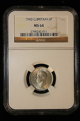 1943 Great Britain. 6 Pence. NGC Graded MS-64.