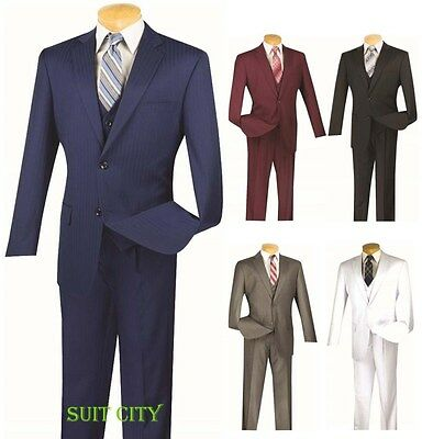 Men's Suit Single Breasted 2 Buttons 3 Piece Vested Classic Fit Stripe V2TT-8