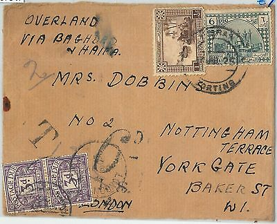 57947  -  IRAQ  - POSTAL HISTORY: COVER to ENGLAND - TAXED ! OVERLAND MAIL !