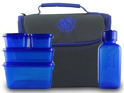 New Wave Enviro Products - Litter Free Lunch Box with Food Containers Grey Steel