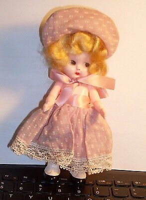 """Vintage 5 1/2"""" Doll marked S&E in original outfit"""