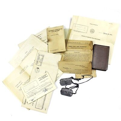 Original Us Wwii Documents Pay Records Dog Tags Lot - J Hook Chain Overseas