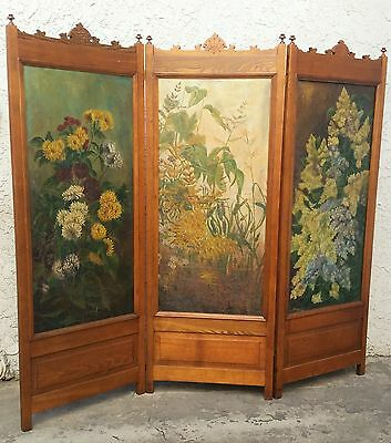 Antique 3 Panel Victorian Oak & Flower Oil Painting Screen / Room Divider 1890s