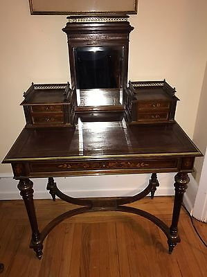 19th C French Satin Inlaid Bronze Mounted Mirror Back Vanity Desk Dressing Table