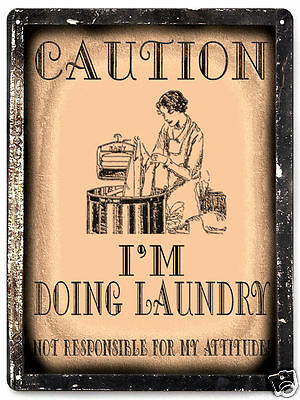 funny LAUNDRY ROOM METAL SIGN CAUTION vintage style wall plaque art 479