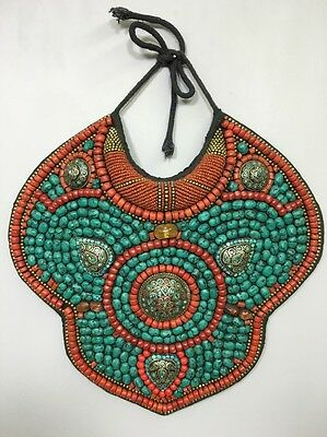 Tibetan Turquoise Red Coral Collar Necklace