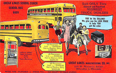 Milwaukee WI Great Lakes Manufacturing School Buses Safety Doors Linen Postcard
