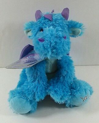 """8"""" Blue Sparkle Dragon Shining Stars Russ Berrie Plush Toy With Code B272"""