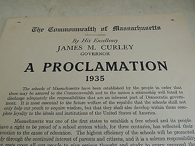 James M.Curley Governor of Massachusetts 1935 Proclamation Education Week