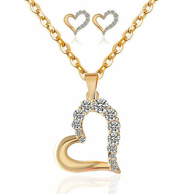 Beautiful gold plated heart Earring and Necklace Sets