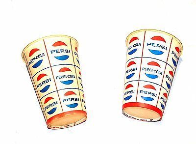 "2 1960's Pepsi Logo Soda Pop 3"" Cups Flat Top Pre Zip Can Diet Crystal NoRiskOfr"