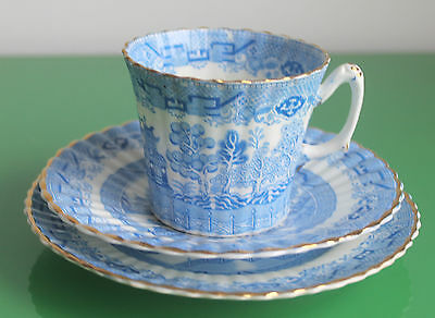 Late Victorian Blue & White Willow Fluted Porcelain Tea Trio Set c.1880