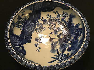 Antique Japanese Blue White Bowl with Shimazu clan markings