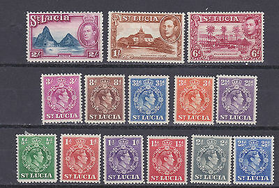 St  Lucia  1938  part set of 14 mint hinged
