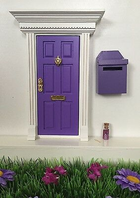 Purple Wooden Fairy Door with Fairy Dust And Magic Key