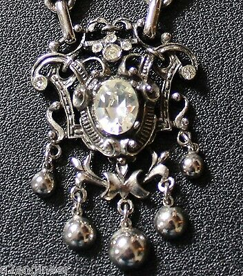 Vintage 1950 Jewelcraft Necklace Silver Coloured 3 Large Diamante Stones