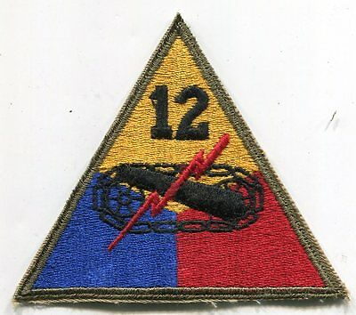 Wwii Original 12Th Armored Division White Back Patch France Germany Austria
