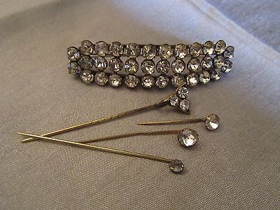 Lovely Antique Victorian Paste Bodice Brooch & Four Paste Stick Pins 1880's