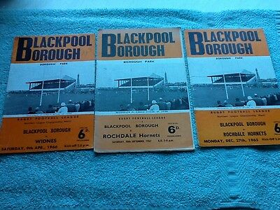 3 Blackpool Borough rugby league programmes