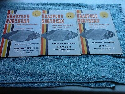 3 Bradford Northern rugby league programmes