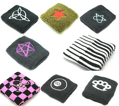 Unisex Patterned Workout Cotton Wrist Sweat Bands Terry Cloth Accessory Black