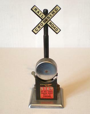 Vintage Railroad Louis Marx Mar Lines Railroad Crossing Stop Sign With Bell