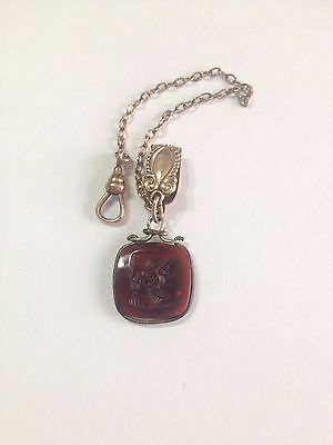 Antique Pocket Watch Chain with Carved Intaglio FOB
