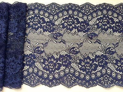 "Laces Galore ~Clipped Navy Blue Wide Delicate Lace 7.5""/19 cm Craft Table Runner"