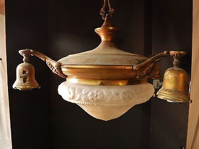 Antq 4 Arm Art Deco Ceiling Light Fixture CHANDELIER Lighted Center Dome Shade
