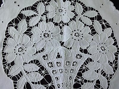Stylish Antique Handmade Cutting Embroidered White Cotton Round Small Tablecloth