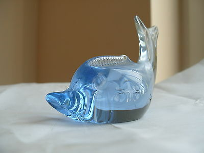 Small Hand Blown  Blue Dolphin Ornamental Paperweight