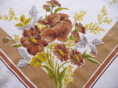 Vintage Tablecloth Mid Century Brown Yellow Green Floral Pattern 1960's 48 x 60