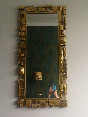 Vintage Mid Century Brutalist Cast Resin Mirror by Syroco, 1970s