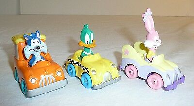Lot of 3 Tiny Toons Toys Vehicles Cars Die Cast Metal vtg 1990 Babs Bunny Duck