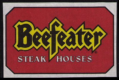 Beefeater Steak Houses, Poster Label, Very Fine Condition, Mint No Gum