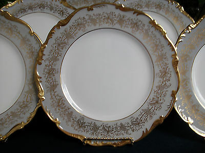 COALPORT HAZELTON GREY (c.1950's) DINNER PLATE(s)- FANTASTIC! MINT! GILT GALORE!