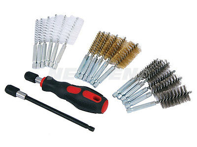 20pc small Wire Brush Cleaning Set Kit Remove Rust Brass Hex drill bit