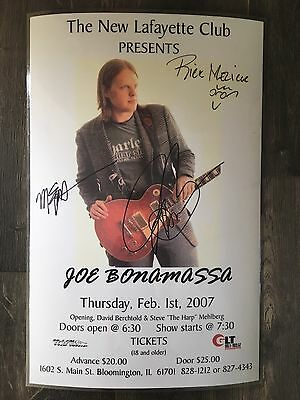 Autographed Signed Joe Bonamassa Laminated Concert Flyer 2007 New Lafayette Club