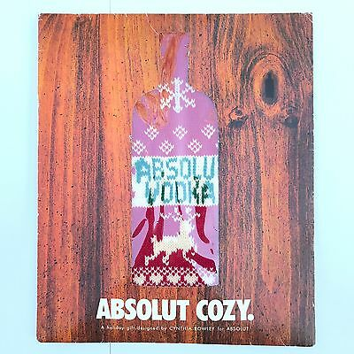 Absolut Vodka Cozy Bottle Sweater Cynthia Rowley 2001 Limited Edition Rare Gift