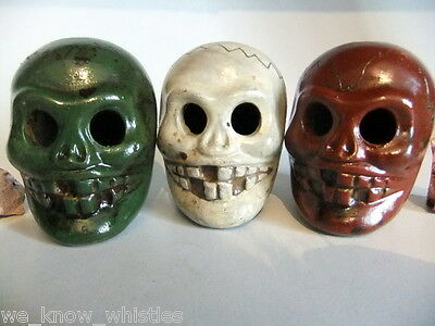 AZTEC SUGAR SKULL WHISTLE 3PCS Ocarina whistles DAY OF THE DEAD MEXICAN FOLK ART