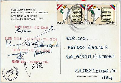 59975 -   PERU - POSTAL HISTORY: Italian EXPEDITION POSTCARD - Signed 1977
