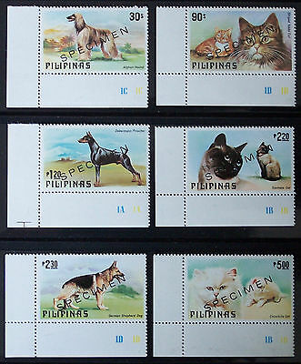 PHILIPPINES, CATS & DOGS SET OF 6, OVERPRINTED SPECIMEN, issued 1979, MNH