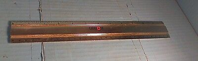 "VTG UNION 76 GOLD COLOR METAL RULER AMSCO 12"" by 1 3/4"" WIDE  USA"