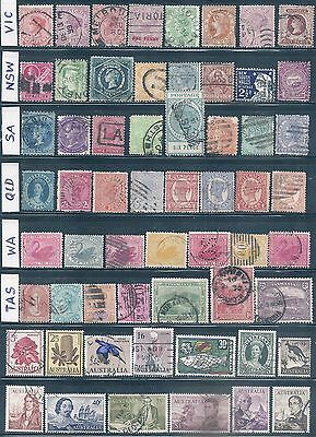 Australia States Selection 59 stamps incl Navigators 1966    USED